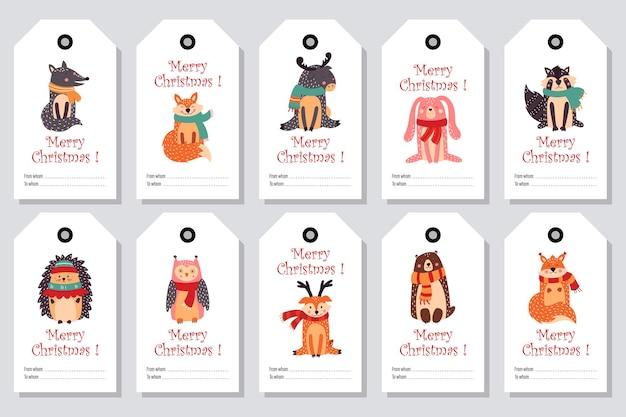 Kartki świąteczne, zestaw tagów prezentów, ręcznie rysowane styl.