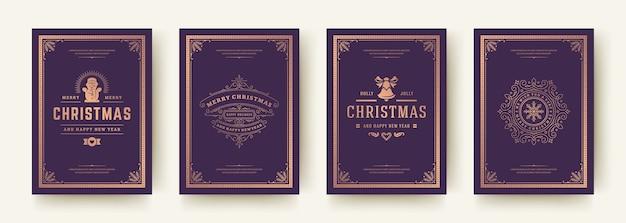 Kartki świąteczne zestaw vintage ilustracji typograficznych qoutes. ozdobne symbole ozdób z życzeniami ferii zimowych i ozdobnymi ramkami.