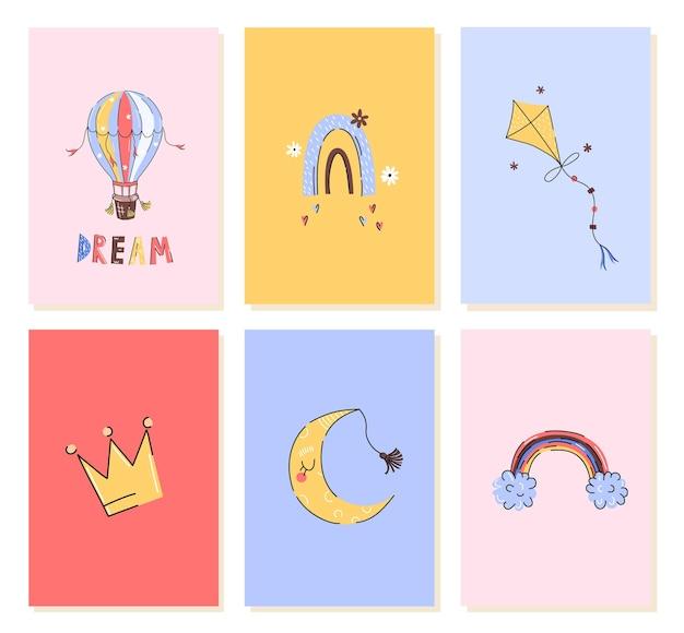 Kartki Urodzinowe Dla Dzieci Z Ręcznie Rysowanym Stylem Lub Nadrukami Do Przedszkola Premium Wektorów