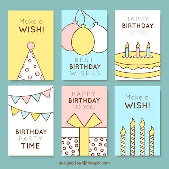 Kartki urodzinowe w lekkich kolorach z rysunkami