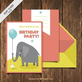 Kartki urodzinowe z całkiem słonia i żółtej kopercie