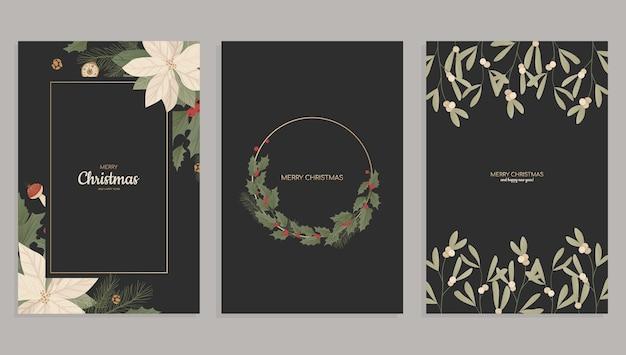 Kartki wesołych świąt i nowego roku 2021 z realistycznymi gałęziami choinek, szyszkami jodłowymi, jemiołą i ostrokrzewem, ostrokrzewem.