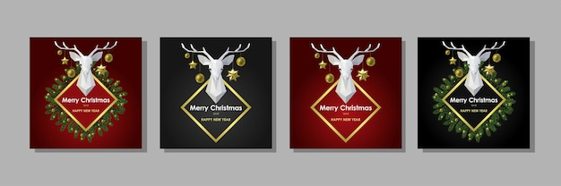 Kartki wesołych świąt i szczęśliwego nowego roku z wielokątną głową jelenia