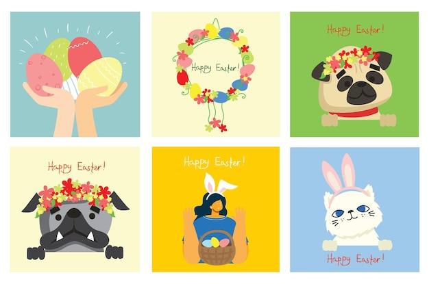 Kartki wielkanocne z kotami i psami oraz wiosennymi kwiatami. wesołych świąt w stylu płaski