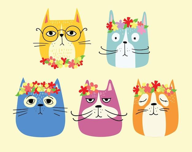 Kartki wielkanocne z kotami i wiosennymi kwiatami. wesołych świąt w stylu płaski