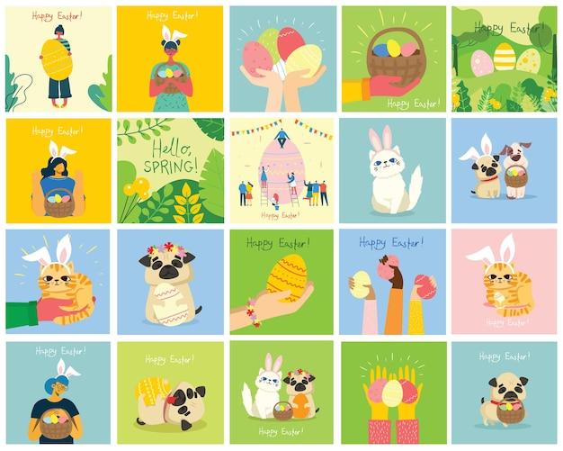 Kartki wielkanocne ze zwierzętami trzymającymi jajka i ręcznie rysowane tekst - wesołych świąt w stylu płaski