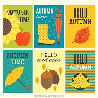 Kartki z jesiennych elementów
