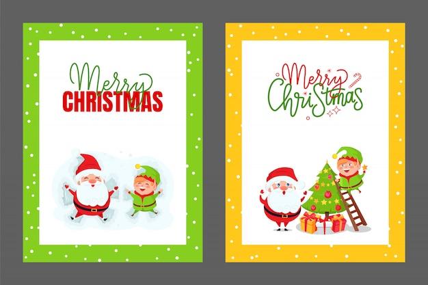 Kartki z pozdrowieniami choinka santa i elf wektor