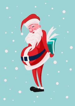 Kartki z życzeniami wesołych świąt. święty mikołaj trzyma pudełko za plecami i uśmiecha się