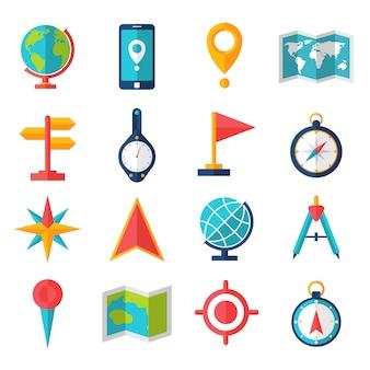 Kartografia płaski zestaw ikon