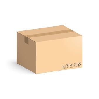 Karton odizolowywający na białym tle. układ pudełka do dostawy.