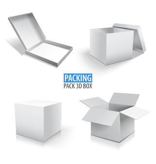 Karton pakujący białe pudełko 3d. zestaw zamkniętych i otwartych kartonów na białym.