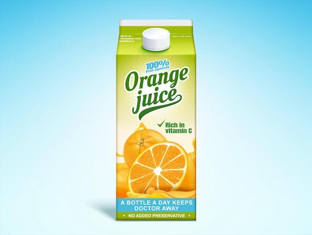 Karton papierowy z sokiem pomarańczowym na ilustracji 3d