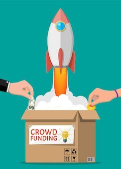Karton, rakieta kosmiczna i ręce z pieniędzmi. finansowanie projektu poprzez pozyskiwanie wkładów pieniężnych od ludzi. koncepcja finansowania społecznościowego, uruchomienie lub nowy model biznesowy. ilustracja wektorowa w stylu płaski
