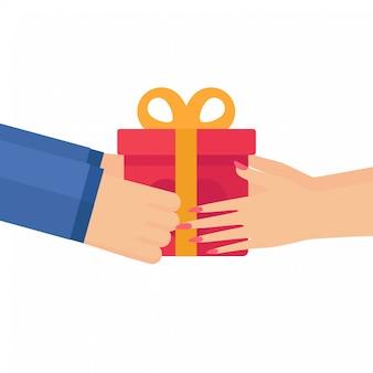 Karton w ręce. odbierz prezent walentynki