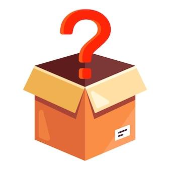 Karton z czerwonym znakiem zapytania. rozpakuj nieznaną przesyłkę. płaska ilustracja na białym tle.