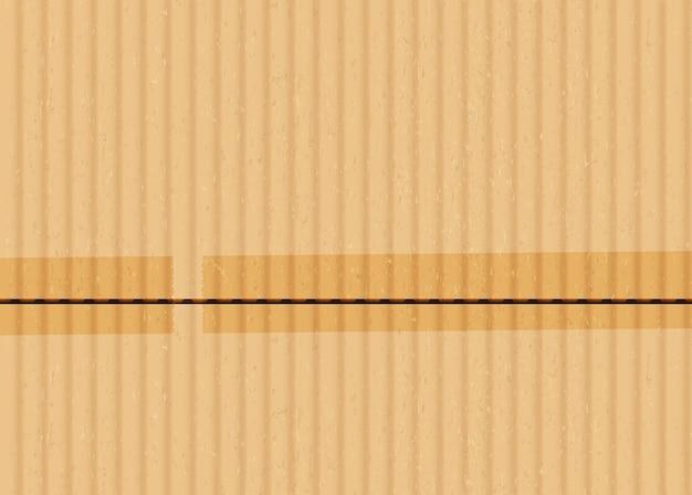 Karton z taśmą klejącą kawałki realistyczne tło wektor. brązowa powierzchnia tektury falistej z ilustracją połączonych krawędzi. materiał opakowaniowy z podklejonymi paskami taśmy klejącej