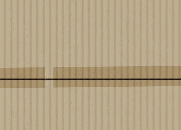 Karton z taśmą klejącą paski realistyczne tło wektor. brązowa tektura falista z ilustracją przyklejonych krawędzi. materiał do owijania z kawałkami taśmy klejącej. beżowa tekstura tektury