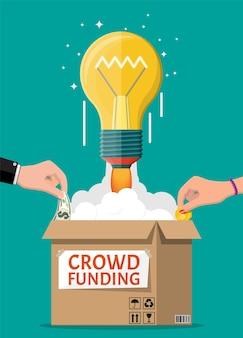 Karton, żarówka rakieta i ręce z pieniędzmi. finansowanie projektu poprzez pozyskiwanie wkładów pieniężnych od ludzi. koncepcja finansowania społecznościowego, startup lub nowy model biznesowy. ilustracja wektorowa w stylu płaski