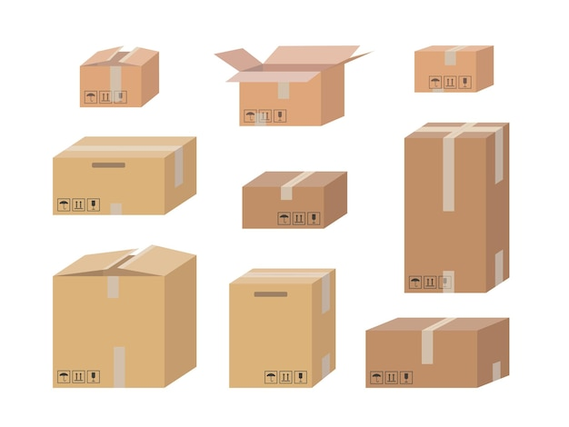 Karton zestaw na białym tle