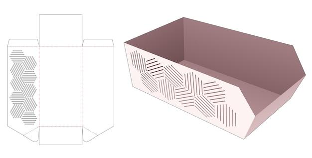 Kartonowa sfazowana taca z szablonem geometrycznym wycinanym szablonem