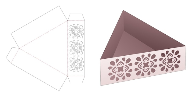 Kartonowa taca w kształcie trójkąta z szablonem wycinanym w mandali