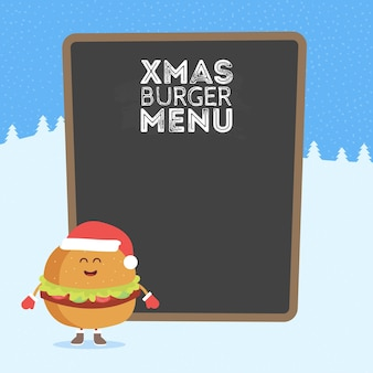 Kartonowe menu restauracji dla dzieci. boże narodzenie i nowy rok w stylu zimowym. zabawny ładny burger narysowany uśmiechem, oczami i rękami. ubrana w czapkę mikołaja i ciepłe rękawiczki.
