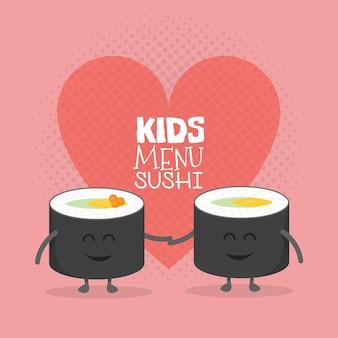 Kartonowe menu restauracji dla dzieci. szablon dla twoich projektów, stron internetowych, zaproszeń. śmieszne słodkie przyjaciółki sushi roll miłość rysowane z uśmiechem, oczami i rękami.