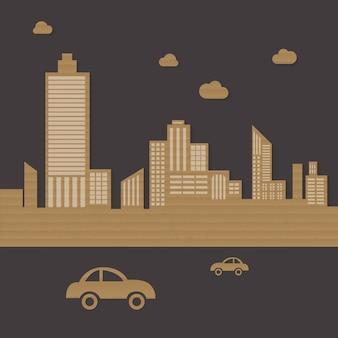 Kartonowe miasto miejskie tło wektor