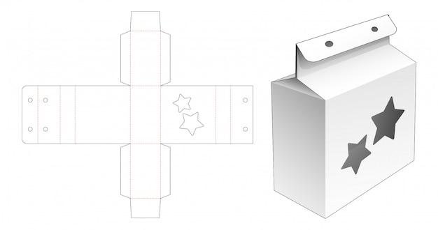 Kartonowe opakowanie na przekąski z szablonem wycinanym w gwiazdki i otworem na linę