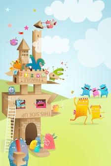 Kartonowe papieru castle kids summer festival play. papierowy zamek wykonany z tektury na imprezę dla dzieci.
