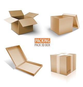 Kartonowe pudełko 3d. brązowy zestaw dostawy różnej wielkości opakowań.