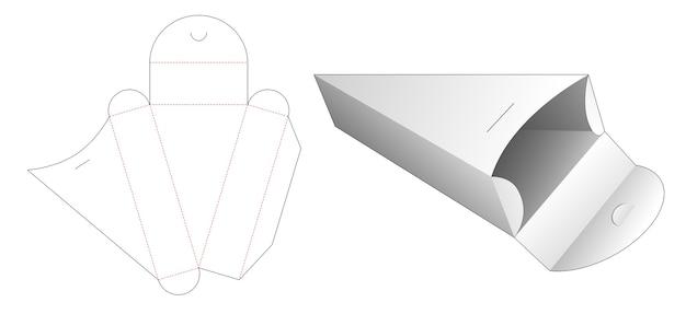 Kartonowe pudełko w kształcie trójkąta wycinane szablonem