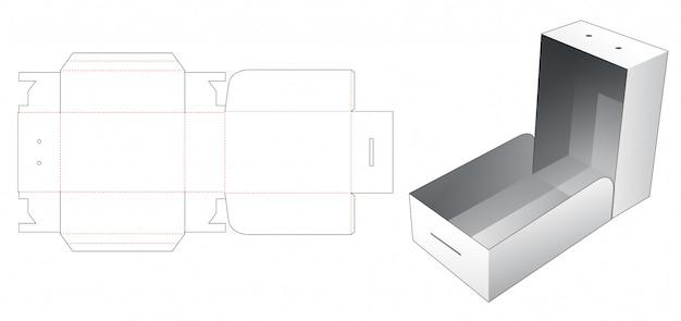 Kartonowe pudełko z wyciętym szablonem
