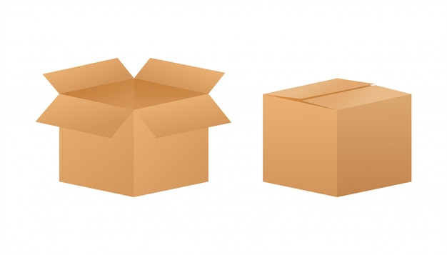 Kartonowe pudło. wysyłka symbol dostawy. ikona pudełka. ilustracja.