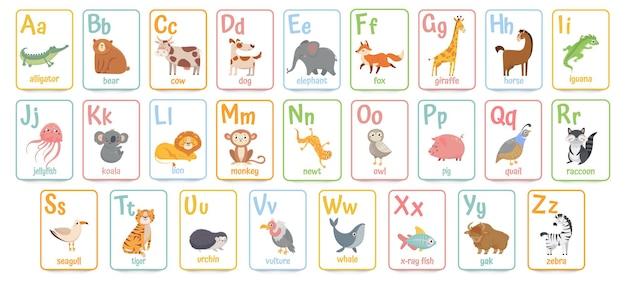 Karty alfabetu dla dzieci. edukacyjne przedszkole nauka karty abc z zestawem ilustracji kreskówek zwierząt i listów.