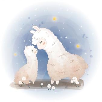 Karty baby shower. urocza lama, matka alpaki w kwiatach, lama mama i dziecko