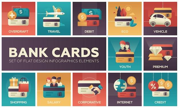 Karty bankowe - zestaw elementów infografiki płaska konstrukcja. kolorowe kwadratowe ikony. debet, podróże, debet, eko, pojazd, młodzież, premia, zakupy, wynagrodzenie, korporacja, internet, kredyt