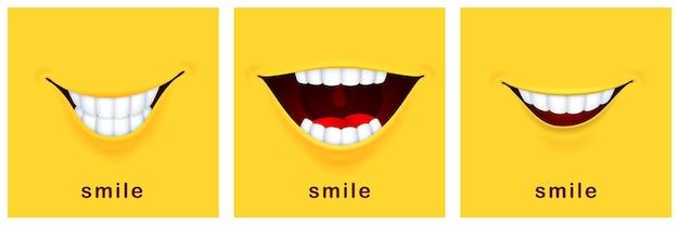 Karty dnia uśmiechu. szczęśliwy uśmiech, pozytywny nastrój. żółte banery śmiechu, zabawny uśmiechnięty projekt. sukces myślenia lub pozdrowienia szablony usta wektor symbole. szczęśliwa karta radości uśmiechu, zabawna ilustracja banner