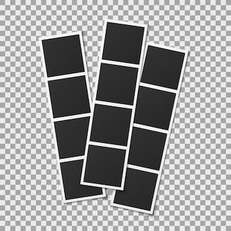 Karty do fotobudki. realistyczna fotografia kwadratowe puste pionowe ramki na przezroczystym tle, vintage paski migawki pusty szablon montażowy projekt wektor album pamięci
