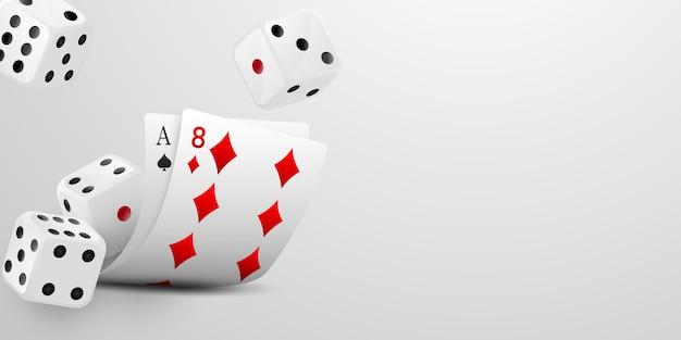Karty do gry i latające kości. zwycięski poker