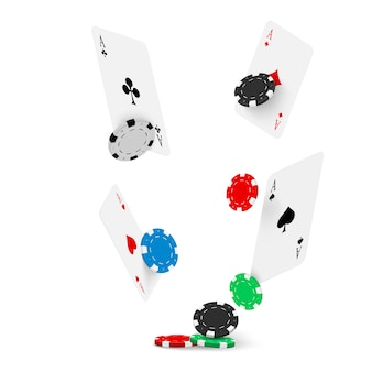 Karty do gry i żetony do pokera latają w kasynie. pojęcie.