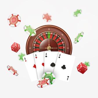 Karty do gry i żetony do pokera latają w kasynie z rozmytymi elementami. kasyno ruletka na białym tle. ilustracja.
