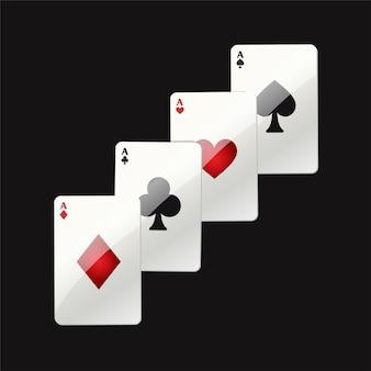 Karty do gry - nowoczesne wektor realistyczne na białym tle clipart ilustracja na czarnym tle. as pokera. kierki, trefle, piki, karo. kasyno, hazard, szczęście, koncepcja fortuny