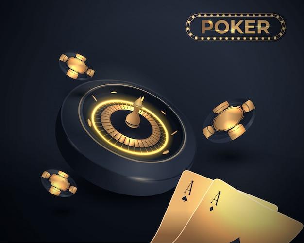 Karty do pokera w kasynie i projekt koła ruletki