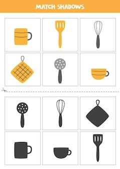 Karty dopasowujące cień dla dzieci w wieku przedszkolnym. narzędzia kuchenne kreskówka.