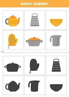 Karty dopasowujące cień dla dzieci w wieku przedszkolnym. przybory kuchenne.