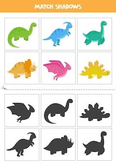 Karty dopasowujące cień dla dzieci w wieku przedszkolnym. śliczne dinozaury.