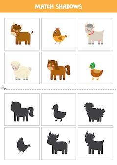 Karty dopasowujące cień dla dzieci w wieku przedszkolnym. śliczne zwierzęta gospodarskie.