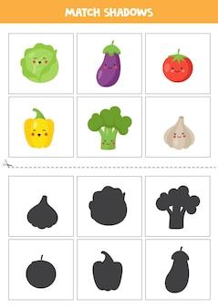 Karty dopasowujące cień dla dzieci w wieku przedszkolnym. słodkie warzywa kawaii.